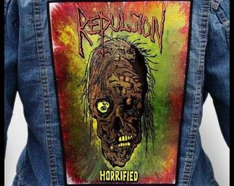 REPULSION - Horrified --- Backpatch Back Patch / Napalm Death Terrorizer Carcass Impetigo Slaughter Death Breath Autopsy Brujeria Nausea