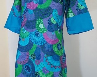Vintage 60s CASUAL AIRE Paradise Hawaii Tiki Oasis Maxi Dress Abstract Floral S-M
