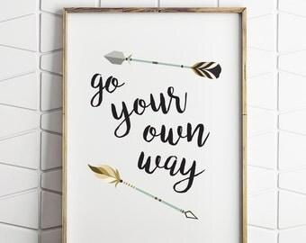 go your own way wall decor, printable wall decor, kids room wall decor, adventurer wall decor, arrow wall decor, tribal decor