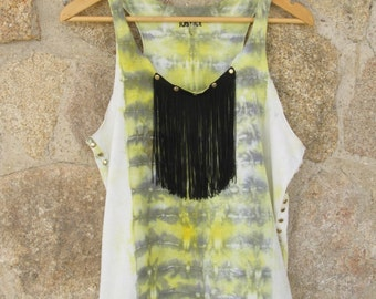 Boho Indie Chic Fashion Tie Dye Shibori Lady's Top T-shirt. SIZE L