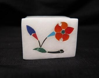 Marble Trinket Box Flower Inlaid Carnelian Stone Malachite Lapis Jewelry