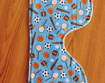 Baby Boy sports themed burp cloth