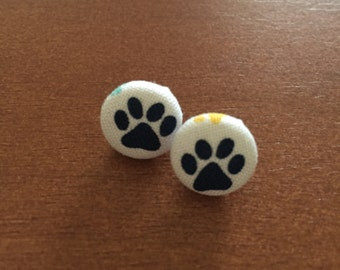 Blue Paw Print Fabric Button Earrings