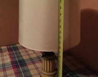 Table lamp Yellow shabby chic silk shade small