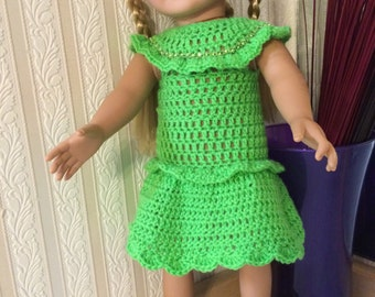 """Crocheted 18"""" & AG-Abbey bathed in green"""