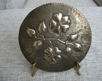 Vintage Solid Brass Wall Plate.  Embossed Floral Design