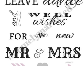 Wedding Advice and Well Wishes Guest Book DIY Printable