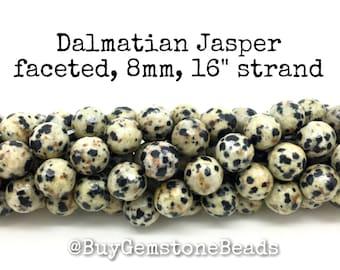 "8mm Dalmatian Jasper faceted beads, 16"" strand. wholesale gemstone beads #R8F-009"