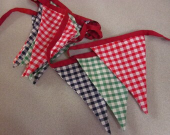 Red, Blue & Green Checkered Party Bunting