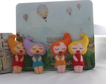 Beehive babes: felt doll brooch, cute doll, birthday, Christmas, present for partner