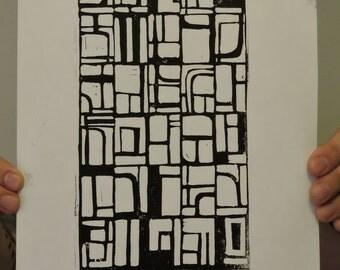 Grid design- linocut