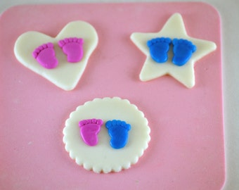 Items similar to edible sparkly baby feet cupcake for Baby feet decoration