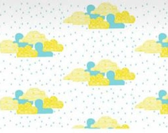 Blue and Yellow Clouds on White Jersey Fabric