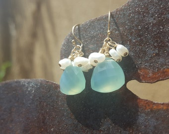 Aqua chalcedony and freshwater pearl earrings with gold fill ear wires