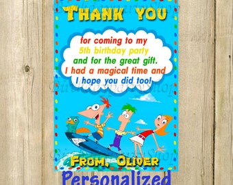 Phineas and Ferb Thank You Card, Phineas and Ferb Birthday Thank You Note, PERSONALIZED, Digital File