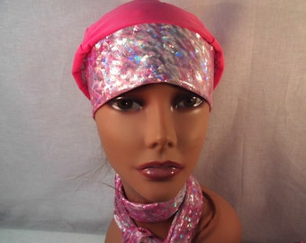 Breast cancer cap and scarf sluouchy hat , head cover cancer,chemo,scarf