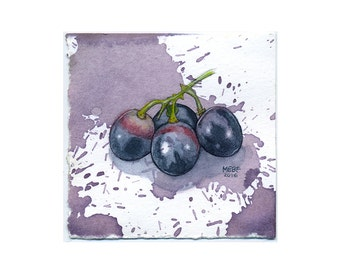 Small Realistic Wine Grapes Watercolor Painting on Wine-Stained Paper