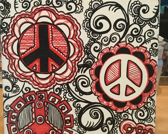 "Black, White and Red PEACE 12"" x 12"""