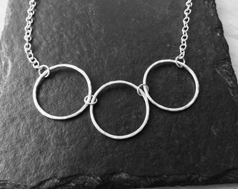 Three circles sterling silver necklace