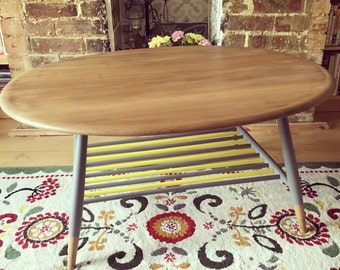 Ercol Oval Coffee Table with Spindle Rack