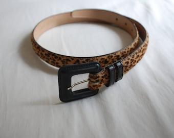 Vintage 90s Leopard Print Leather Belt