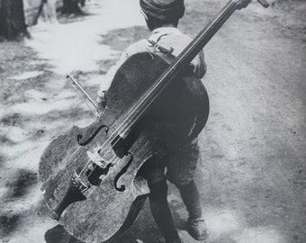 Eva Besnyo - Boy with Cello - vintage art print - exhibition poster - offset litho