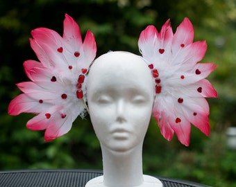 Fallen Angel - Red hearted Feather headpiece