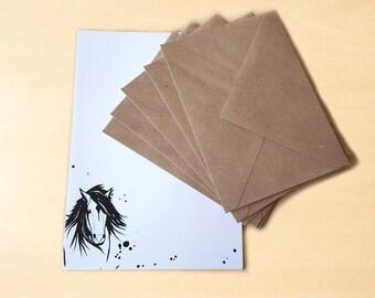 Stationery Letter Writing Set with kraft envelopes - Horse