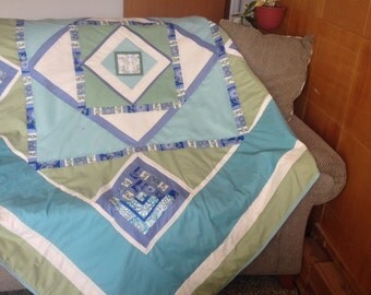 Queen Sized Blue and Green Quilt Bedcover