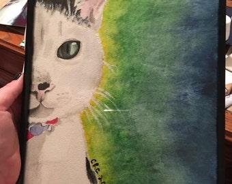 Original 9x12 Custom Pet Portrait- Personalized Watercolor Painting- Unique Creative Gift for College Students
