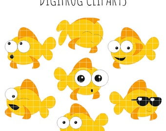 70%OFF Funny crazy goldfishes clipart, printable, scrapbook, papercraft, nursery decoration, digital image, fish clipart, baby art