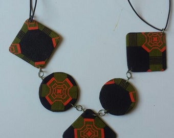 Orange Designed African Printed Necklace
