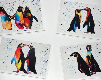 Penguin Cards (pack of 4) with envelopes