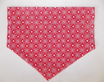 Red Printed Over The Collar Dog Bandana - size XL