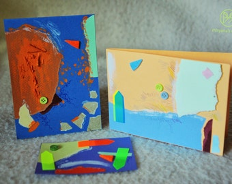 Bright Horizons - set of 3 handmade paper postcards, painted cardboard, collage, blue and orange, abstract forms
