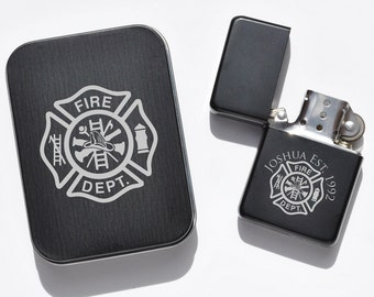Custom Engraved Lighter, SHIPS FAST, Fireman Lighter, Fire Fighter Gift, Personalized Lighter, EMT Cigar Lighter, Engraved Flip Top Lighter