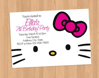 Hello Kitty Pink Bow Face Invitation