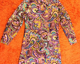 Vintage Mod pink paisley 60s mini dress