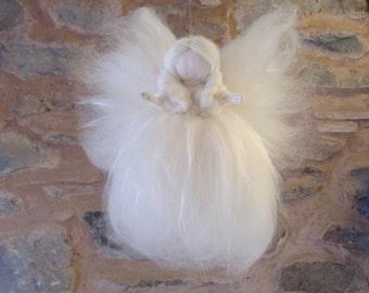 angel felted, white wool angel, silk christmas angel, floating fairy, wool felted pixie, elf kendal fairies, needle felted christmas angels
