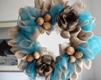 Burlap deco mesh wreath from Burlap Collection | hessian door hanger home decoration wedding decoration