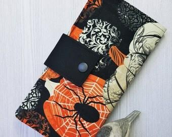 Halloween pumpkin print Womens wallet, slim bifold wallet, fabric handmade clutch wallet, womans checkbook wallet, credit card wallet,