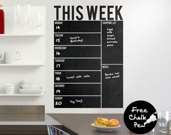 Write & Wipe - Weekly Calendar / Planner / Board - Vinyl Wall Decal / Sticker - Free Chalk Pen Included