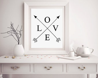 Love PRINTABLE Poster, Love and Cross Arrows, Modern Typography, Minimalist Home Decor, Modern Home Decor