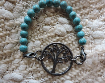 Natural Turquoise Tree of Life Bracelet