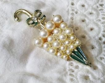 Pearl Umbrella Brooch / Pin