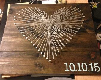 Heart String Art Wall Decor
