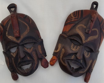 Pair of Vintage African Tribal Masks Kenya Jambo 1960's