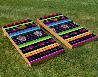 Mexican Blanket Cornhole Board Set