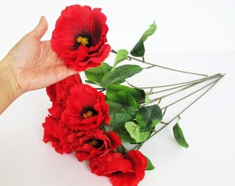 7 Silk Poppies Artificial Flowers Big Red With Black Yellow Center Poppy Flower Floral Hair Accessories Poppy with Leaves Supplies Faux Fake