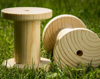 The wooden spool for ribbons and threads